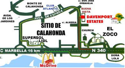 [Costa del Sol, Sitio de Calahonda, map of the main street Avenida de Espana]